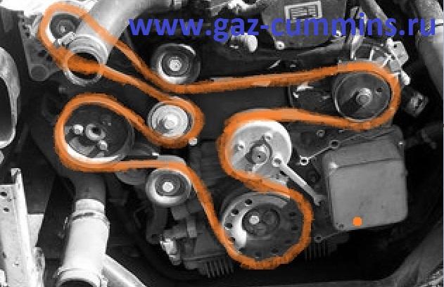Схема прокладки ремня генератора на Газели Бизнес с двигателем Cummins ISF 2.8.  Для замены ремня нам понадобится.